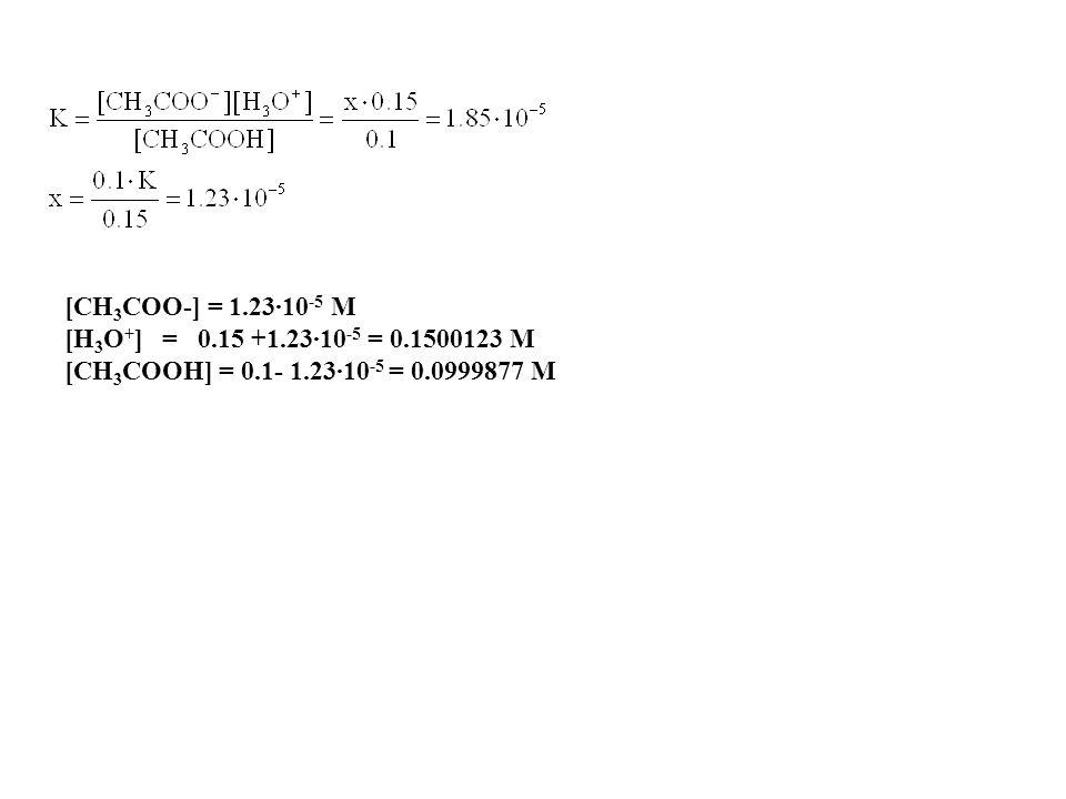 [CH3COO-] = 1.23·10-5 M [H3O+] = 0.15 +1.23·10-5 = 0.1500123 M.